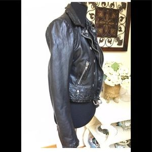 People Black Cropped Motorcycle Jacket, size XS